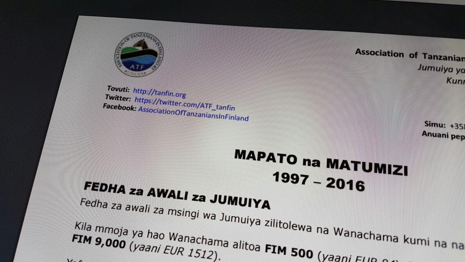 ATF - Mapato na Matumizi 1997-2016